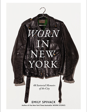 Black leather jacket with white overlay text that reads worn in new york