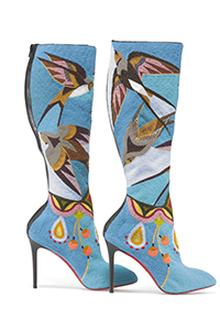 NFN-018Jamie Okuma (Luiseñoand Shoshone-Bannock)Boots, 2013–14Glass beads on boots designed by Christian Louboutin (French)Peabody Essex Museum. Museum Commission with support from Katrina Carye, John Curuby, Karen Keaneand Dan Elias, Cynthia Gardner, Merry Glosband, and Steve and Ellen Hoffman, 2014.44.1AB © 2015 Peabody Essex Museum. Photo by Walter Silver.