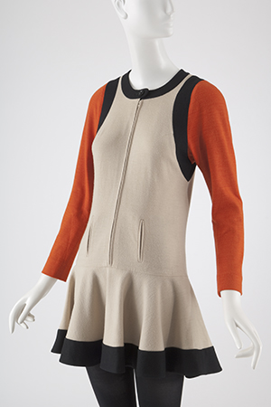 A Mary Quant light brown wool jersey dress with orange sleeves and black trim