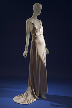 sleeveless floor length bias cut evening dress with train in blush ivory silk charmeuse