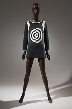 black knit tunic with center front target design