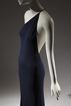 navy blue one-shoulder evening dress