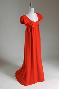 Red wool crepe floor length evening dress