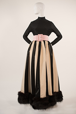 Black and Ivory Satin Striped Fox Trimmed Skirt with Silk Jersey Turtleneck with Pink Satin Trapunto Sititched Belt
