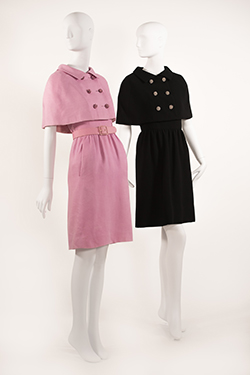 Black Wool Crepe Dress with Capelet Pink Moreau Linen Dress with Capelet