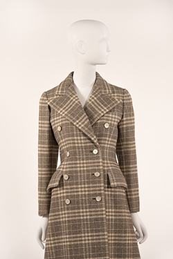 Double Breasted Plaid Tweed Reefer Coat with Martingale Back