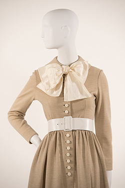 Oatmeal Jersey Shirtdress with Taffeta Bow
