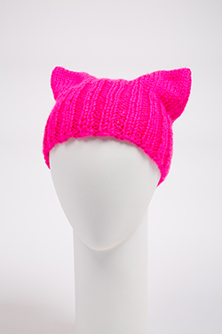 neon pink hat with cat-like ears