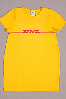 Yellow t-shirt with red DHL Express logo