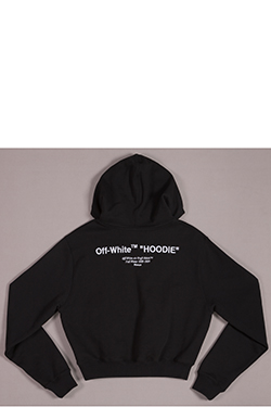 black hoodie with 'Off-White HOODIE' in white