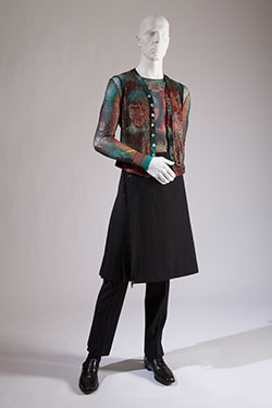 Jean Paul Gaultier, ensemble with kilt and trousers, worn by Darrell Moos. Lent by Xavier Chaumette.
