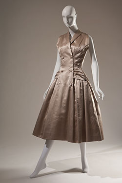 Christian Dior, dress in champagne silk satin, 1954, France. Gift of Sally Cary Iselin, 71.213.20.