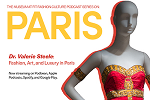 social graphic advertising podcast series on Paris fashion history with Valerie Steele