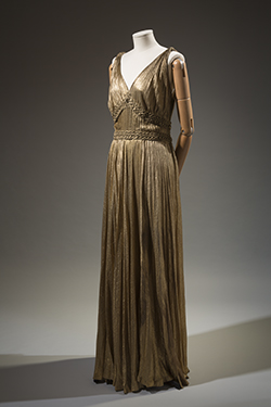 1935 gold metallic sleeveless floor length dress by House of Paquin