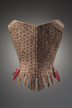 1750s stay with red and brown silk brocade