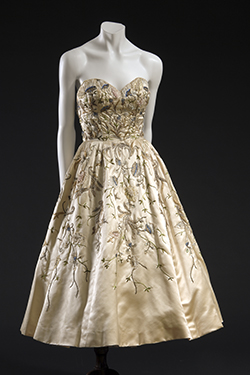 ivory 1951 Christian Dior silk satin dress with bodice and floral embroidery