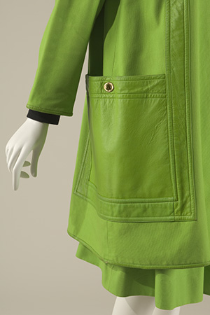 Close up of green Bonnie Cashin raincoat pocket
