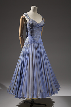 light blue and brown sheer chiffon full length gown with corset bodice