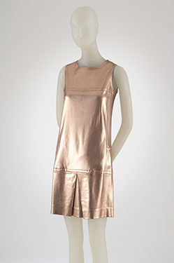Paraphernalia, dress, copper lam knit,  circa 1967, USA, gift of Mrs. Ulrich Franzen.