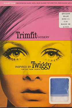 Trimfit, tights inspired by Twiggy in  original packaging, nylon, paper, 1967-68, USA, gift of Dorothy T. Globus.